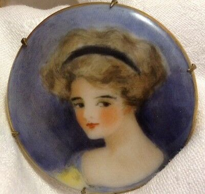 Antique Hand Painted PorcelainLady Portrait Brooch Blue Gold Gilded Beautiful