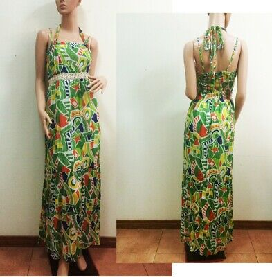 Womens Summer Casual Maxi Long Dress Halter Strap Lace Beaded Green Cotton S M