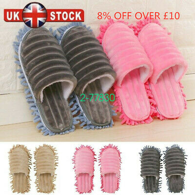 A pair Mop Slippers Lazy Floor Foot Socks Shoes Quick Polishing Cleaning Dust UK