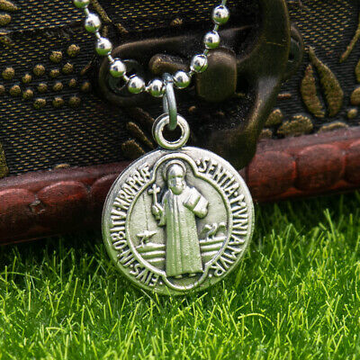 "Saint St Benedict Medal Pendant Necklace Silver Plated 3/4"" Made In Italy"