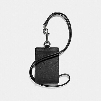 Coach ID Lanyard w/ Card Slots in Sport Calf Leather - Black