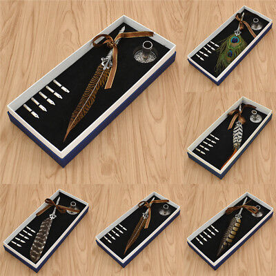 Metal Feather Dip Pen Writing Set 5 Nibs Pen Holder Box Gift Retro Quill Pens