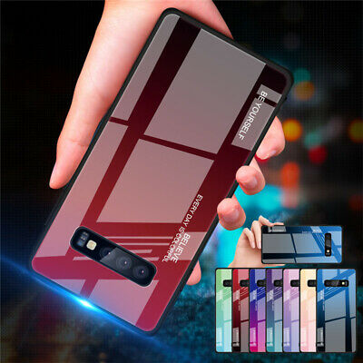 For Samsung Galaxy S10E S10 Plus S9+ Gradient Glass Hybrid Hard Back Case Cover