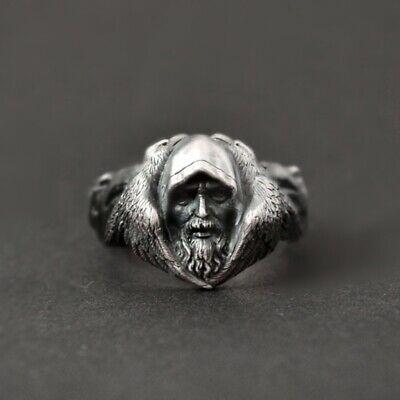 Norse Mythology Mens Viking Wolf Ring 316L Stainless Steel Ring Amulet Jewelry