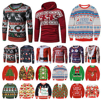 Mens Womens UGLY Christmas Sweater Hoody Hoodies Knitted Pullover Top Blouse