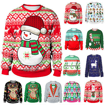 Mens Women Ugly Jumper Tops Christmas 3D Xmas Sweatshirt Pullover Sweater Unisex