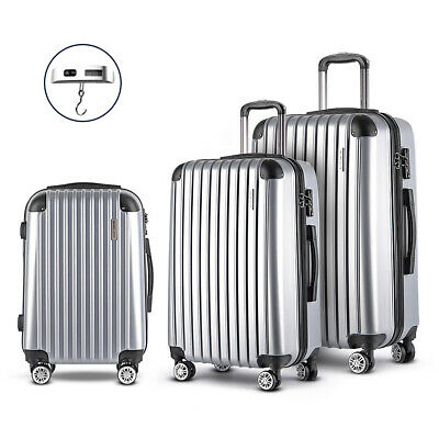 Wanderlite 3pc Hard Case Luggage Suitcase Set W Spinner Wheels TSA Lock Silver