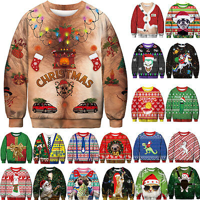 Unisex Ugly Christmas Sweater Santa Women Men Xmas Jumper Sweatshirt Fancy Tops