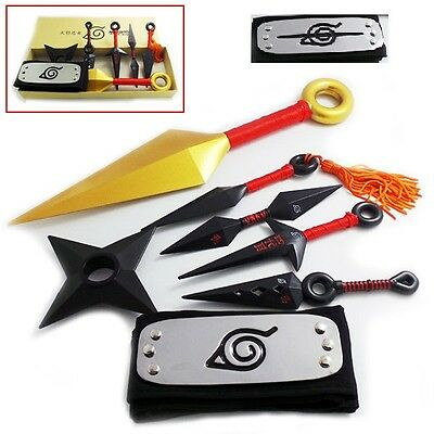 New! Anime Naruto 1:1 Ninja Throwing Weapons Headband (7 pcs/set) Cosplay Props