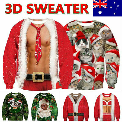 Ugly Christmas Sweater Santa Women Men Xmas Jumper Sweatshirt Tops 3D Printed