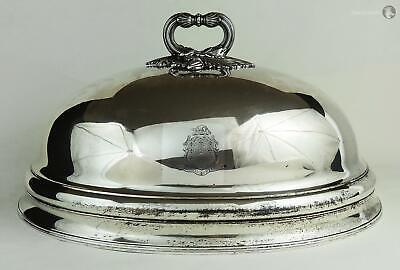 Large GEORGE IV OLD SHEFFIELD PLATE MEAT DISH DOME COVER c1825 DARCY Crest