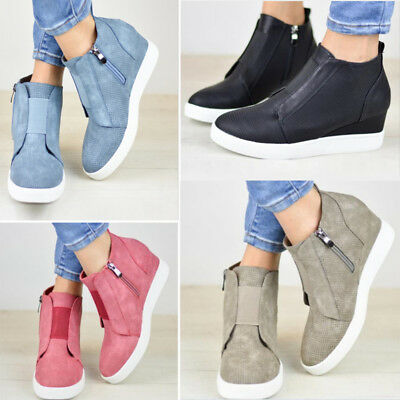 Womens Ladies Hidden Wedge Zipper Trainers High Top Sneakers Casual Shoes Boots