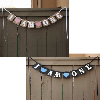 I Am One 1st Birthday Party Bunting Banner Garlands Boy Girl Baby Decoration