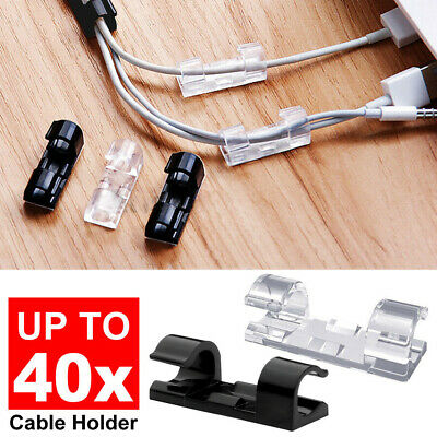20/40Pcs Self-Adhesive Cable Clip Clamp Cord Wire Organizer Management Holder W