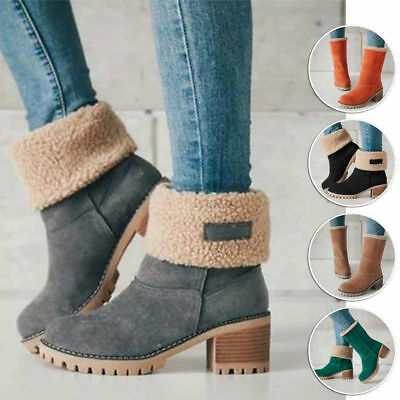 Ladies Womens Winter Boots Snow Warm Fur Comfy Casual Mid Calf Shoes Fashion