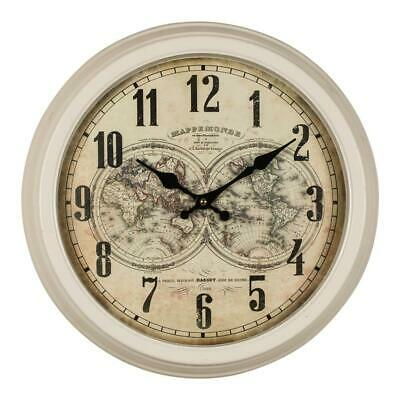 Cream Metal Round World Map Wall Clock Arabic Dial 44 cm