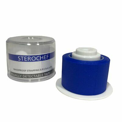 First Aid Catering Plaster Tape Blue Detectable Washproof Strapping 2.5cm x 5m