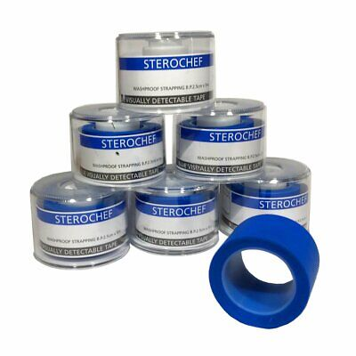 6 Rolls First Aid Catering Plaster Tape Blue Washproof Strapping 2.5cm x 5m