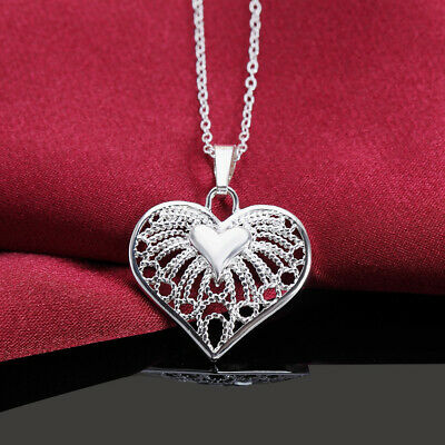 925 solid silver wedding girl Fashion charms Heart cute women Necklace Jewelry