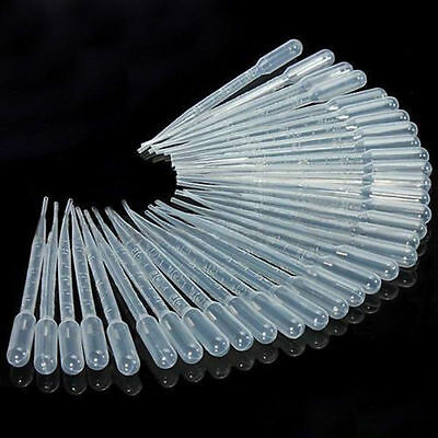 100 x 3ml Disposable pasteur pipettes (graduated).transfer pipettes eye dropper