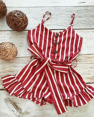 UK Toddler Kid Baby Girl Clothes Sleeveless Striped Romper Summer Chiffon Outfit