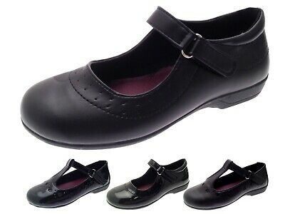 Girls Black School Shoes Faux Leather T Bar Mary Jane Chunky Shoes Kids Size