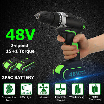 48V Cordless Drill Driver Hammer Drilling Screwdriver 2-Speed LED & 2 Battery