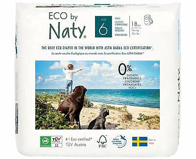 Eco by Naty Premium Pull On Pants for Sensitive Skin, Size 6 (18 Diaper Pants)