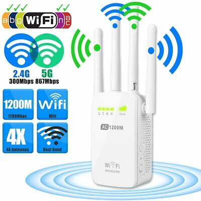 1200Mbps WiFi Repeater Extender Signal Booster AU Wireless Router Range Network