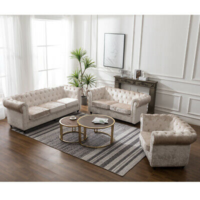 Chesterfield Sofa Seat 3+2 Seater, Armchair Suite Infinity Crushed Velvet Tufted
