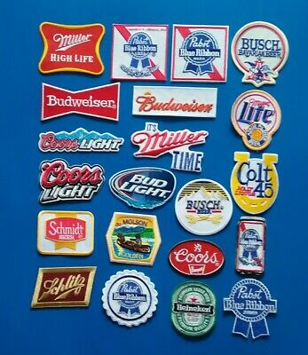 20 COORS BUD PABST MILLER Embroidered Iron Or Sewn On BEER Patches Free Ship