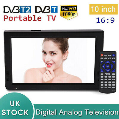10 Inch Portable Widescreen 1080P HD LED Digital Freeview TV DC12V USB PVR