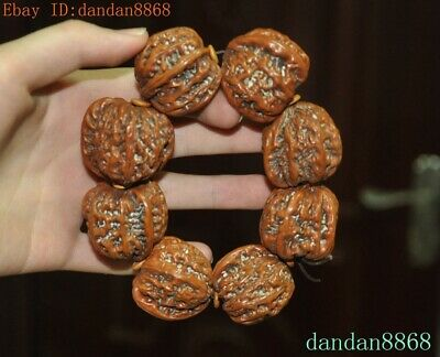 Old Chinese Antique Precious Walnut Hand carved Beads Bracelet