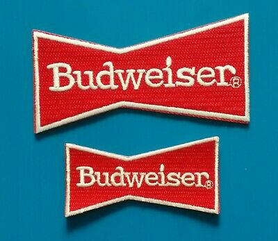 2 LOT BUDWEISER BUD BEER Embroidered Iron Or Sewn On Patches Free Ship