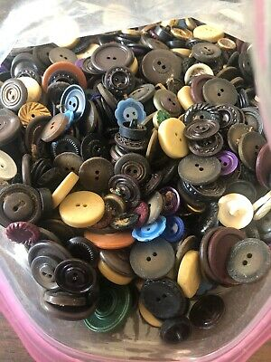 HUGE Lot of Vintage Buttons  Over 2 lbs Unique Assorted Antique Buttons #1