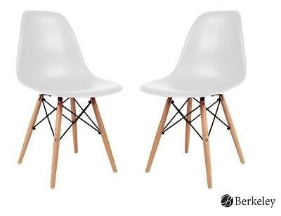 ANALISA Eames Style Chair, Mid Century Molded Shell Chair Set of 2, White