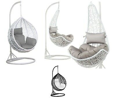 Rattan Swing Patio Garden Weave Hanging Egg Chair w/Cushion  In or Outdoor