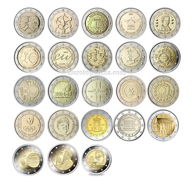 #Rm# All 2 Euro Commemorative From Belgium 2005-2019 23 Coins Unc