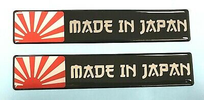 2 x 130mm 'MADE IN JAPAN' Stickers/Decals With RISING SUN - HIGH GLOSS DOMED GEL