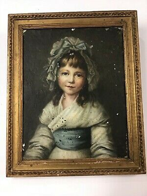 Beautiful Antique Oil Painting Portrait Young Girl Circa 1800