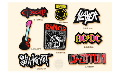 Lotto 8 Pz Toppa Patch Rock Band Nirvana Ozzi Acdc Slayer Termoadesiva Ricamata