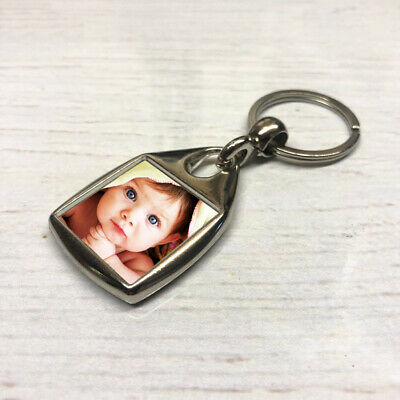 Square Photo Key Ring, Personalised Gift, Double Sided Any Image Promo Logo Text