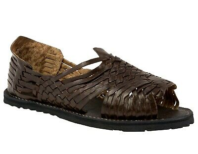 Mens Brown Sandals Mexican Huaraches Authentic Leather Handmade Slip On Open Toe