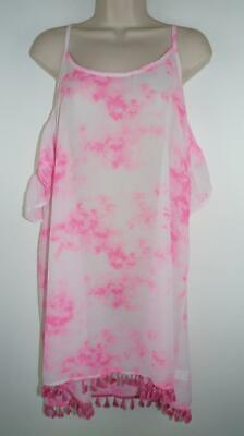06ca331404 NWT Miken Pink White Tie Dye Swimsuit Cover Up Dress Sizes M & L MSRP $28