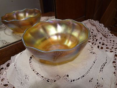 LCT TIFFANY FAVRILE Ribbed IRIDESCENT PLATINUM GOLD Scalloped Rim GLASS BOWL