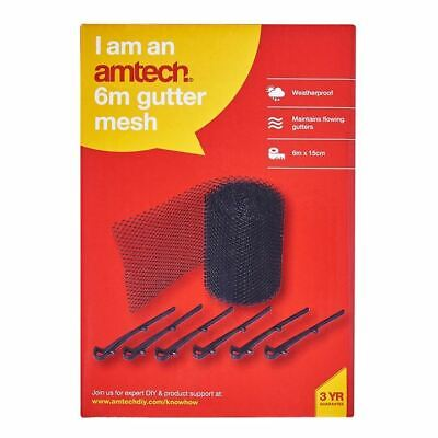 Amtech 6m Gutter Mesh Complete+6 Piece Securing Clips