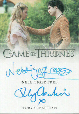 Game of Thrones Inflexions, Nell Tiger Free / Toby Sebastian Dual Autograph Card