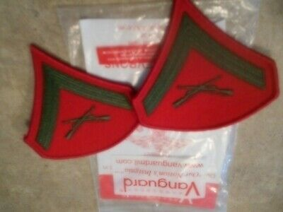 NEW PAIR of USMC Marines Lance Corporal E3 Chevrons PATCH  Green / Red Vanguard