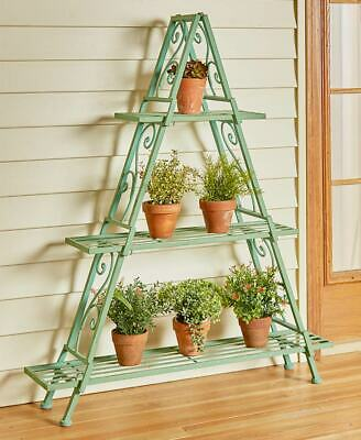 3 Tier A-Frame Scrolled Wrought Iron Metal Shelving Patina NEW