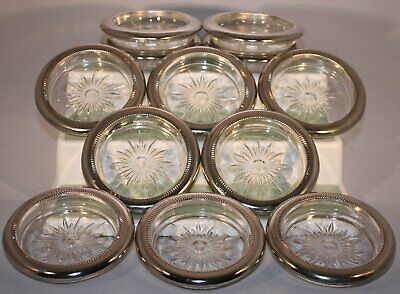 Vintage Leonard Silver Plated Glass Starburst Drink Coasters Set 12  Italy